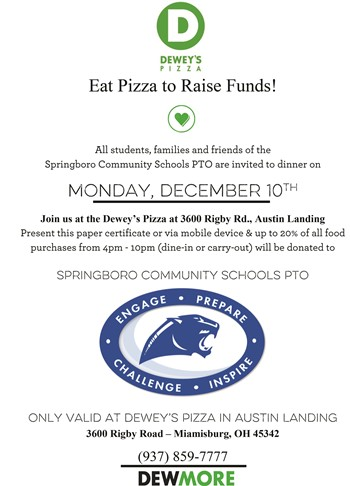 Springboro Schools' PTO - Eat Pizza to Raise Funds
