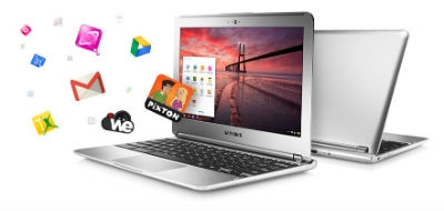 Chromebook with Apps flying out of screen